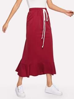 Drawstring Waist Ruffle Hem Skirt