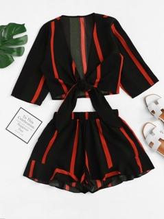 Knot Hem Striped Crop Top and Ruffle Shorts Set