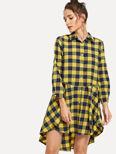 Plaid Print High Low Shirt Dress