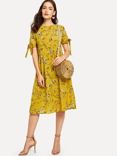 Allover Botanical Print Knot Cuff Dress