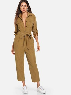 Roll Tab Sleeve Button Front Self Belted Jumpsuit