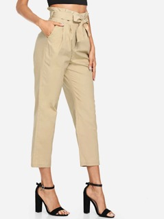 Bow Tie Waist Slant Pocket Pants