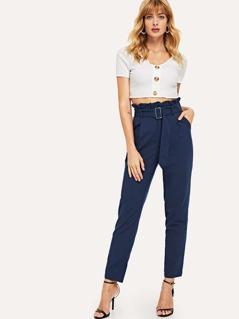 Frill Trim Adjustable Belted Pants