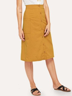 Pocket Side Button Up Skirt