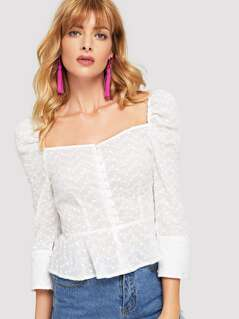 Embroidered Button Up Puff Sleeve Top