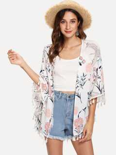 Tassel Trim Floral Print Kimono