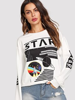 Mixed Print Sweatshirt