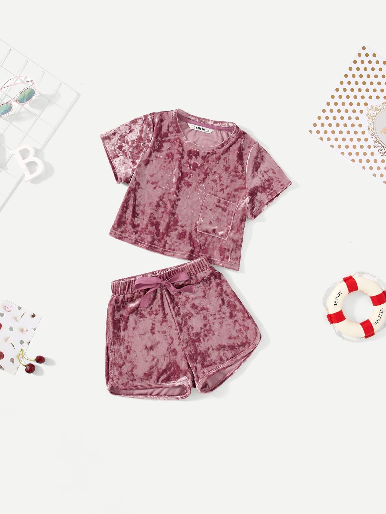 Girls Varsity Velvet Pocket Patched Top & Shorts Set crushed velvet top and shorts set