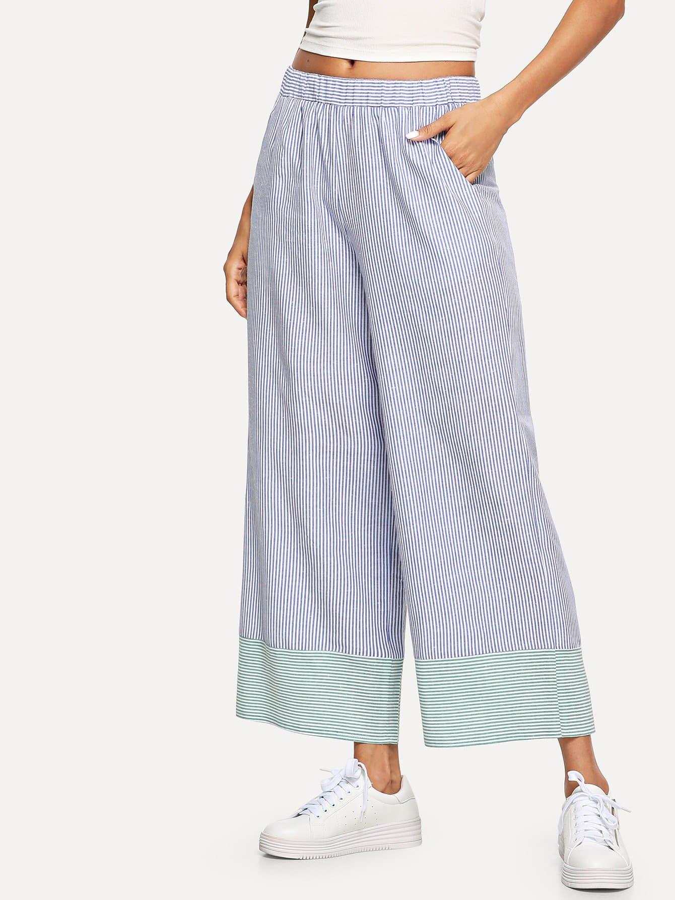 Купить Наклонная карманная широкая нога полосатые брюки, Andy, SheIn