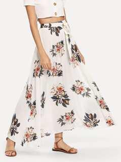 Waist Knot Flower Print Skirt