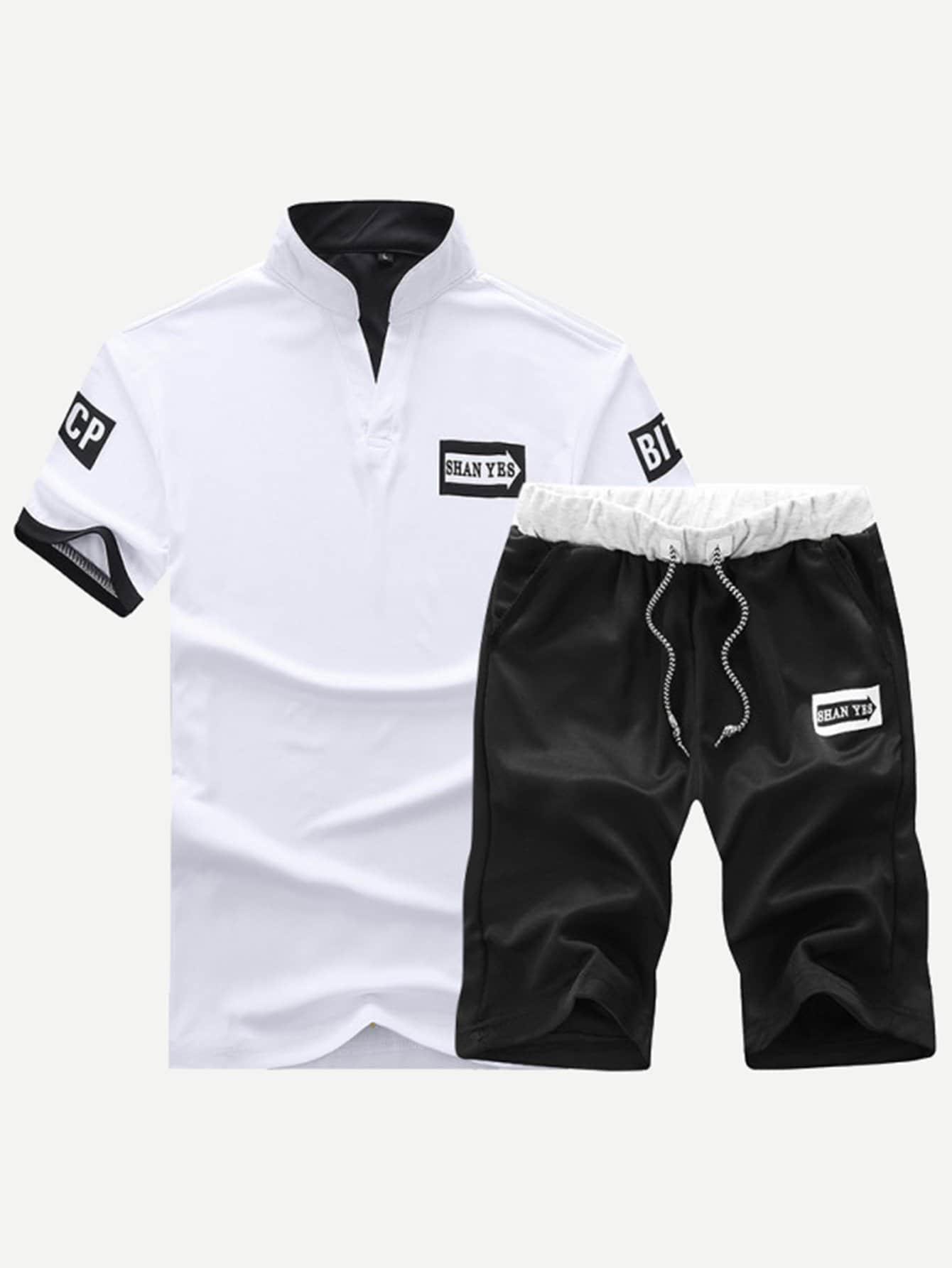 Мужская буква с патч-полотой с короткошерстными шортами от SheIn