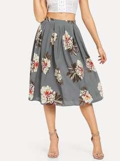 Pleated Flower Print Skirt