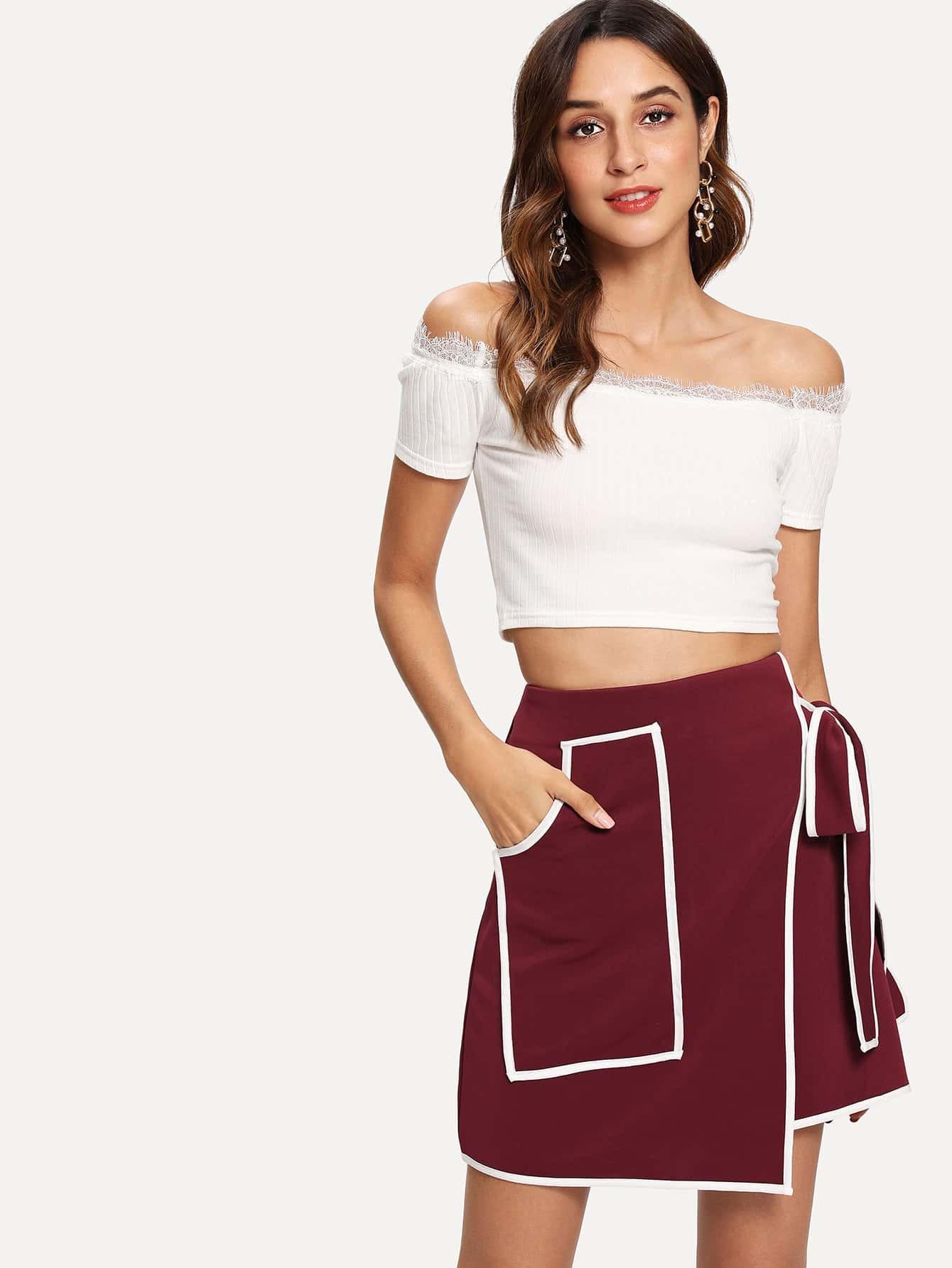 Купить Оберните юбку карманного узла, Gabi B, SheIn