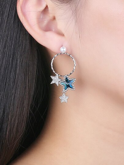 Star Detail 925 Sterling Silver Mismatched Earrings
