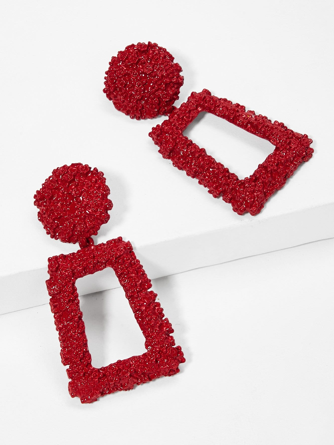 Open Rectangle Textured Drop Earrings 1pair null