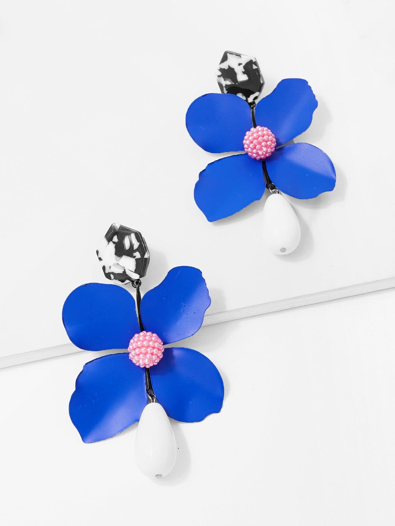 Купить Серьги с подвесками цветов, null, SheIn
