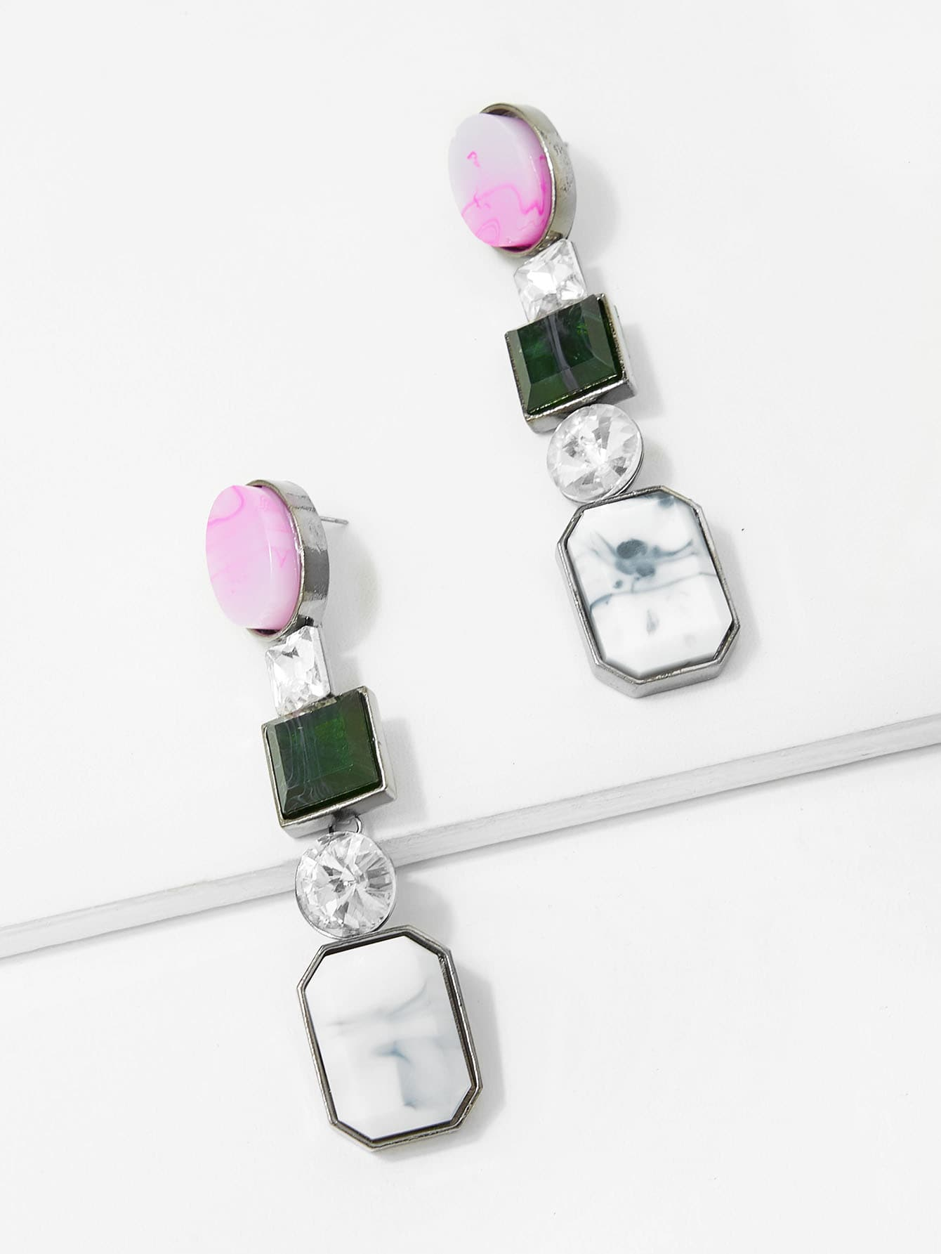 Купить Серьги с подвесками накрахмаленных драгоценных камней, null, SheIn