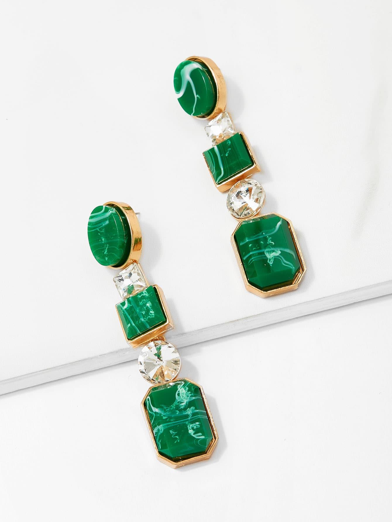 Tiered Gemstone Dangle Earrings pair of elegant spiral tiered rhinestone dangle earrings