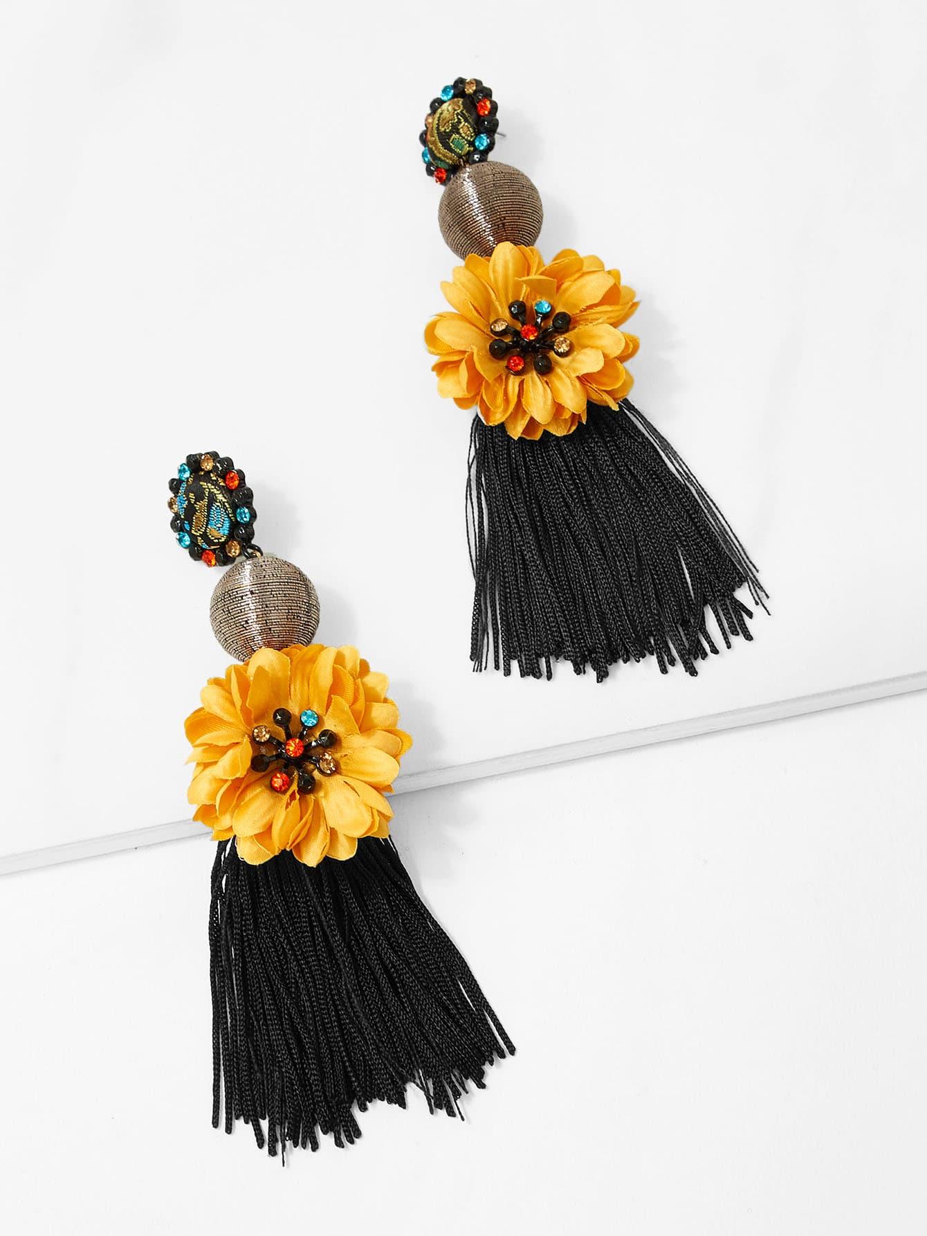 Купить Симметричесие серьги с подвесками цветов и кистей, null, SheIn