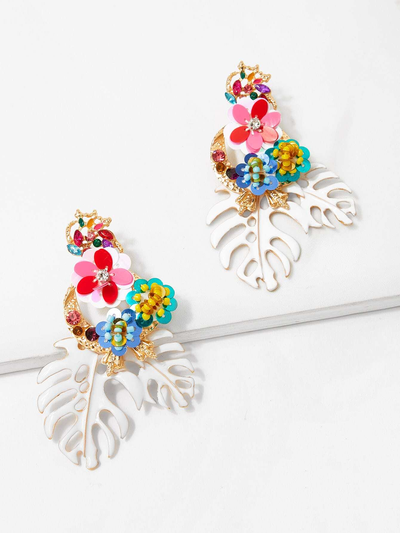 Tropical Leaves & Sequin Flower Drop Earrings tropical leaves drop earrings