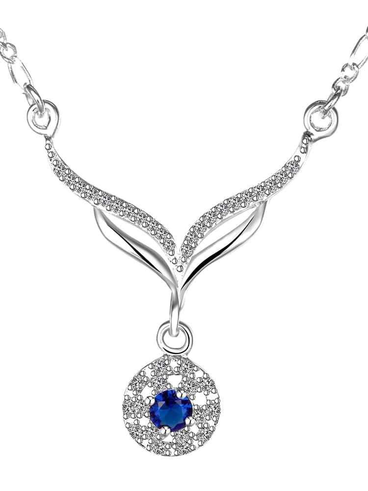 Hollow Rhinestone Round Pendant Necklace