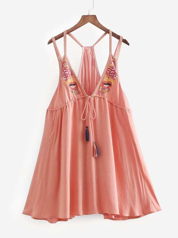 все цены на Tassel Tie Embroidery Dress