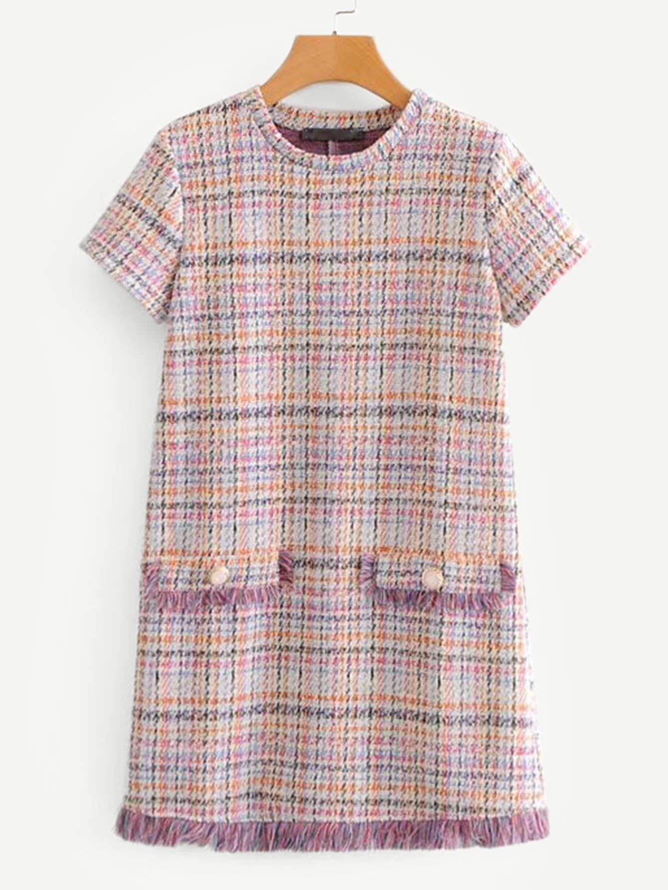 Fringe Trim Tweed Dress frayed trim houndstooth tweed dress