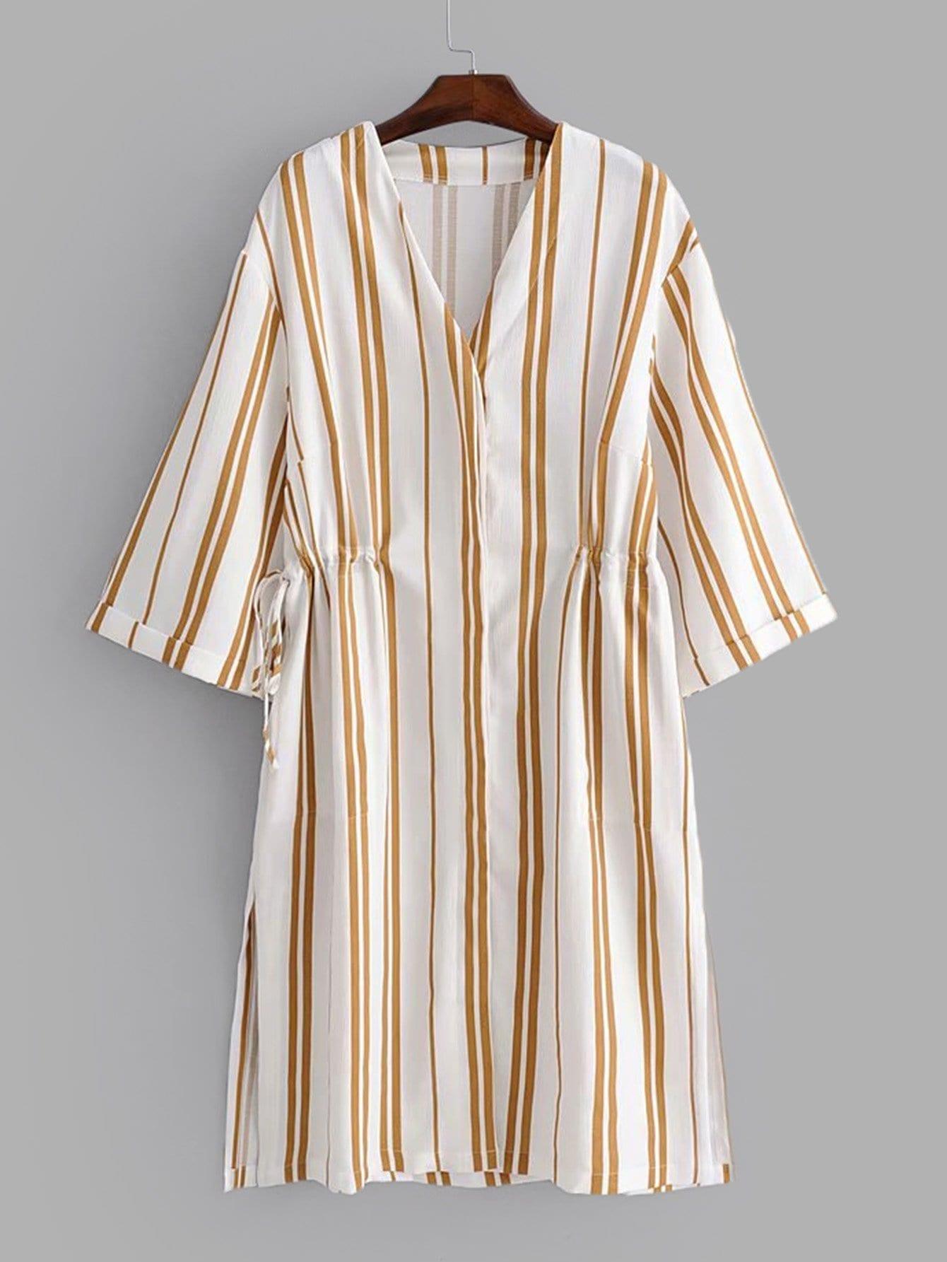 все цены на Vertical-Striped Slit Side Drawstring Dress онлайн
