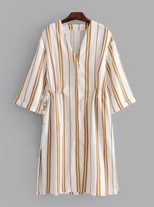 Vertical-Striped Slit Side Drawstring Dress