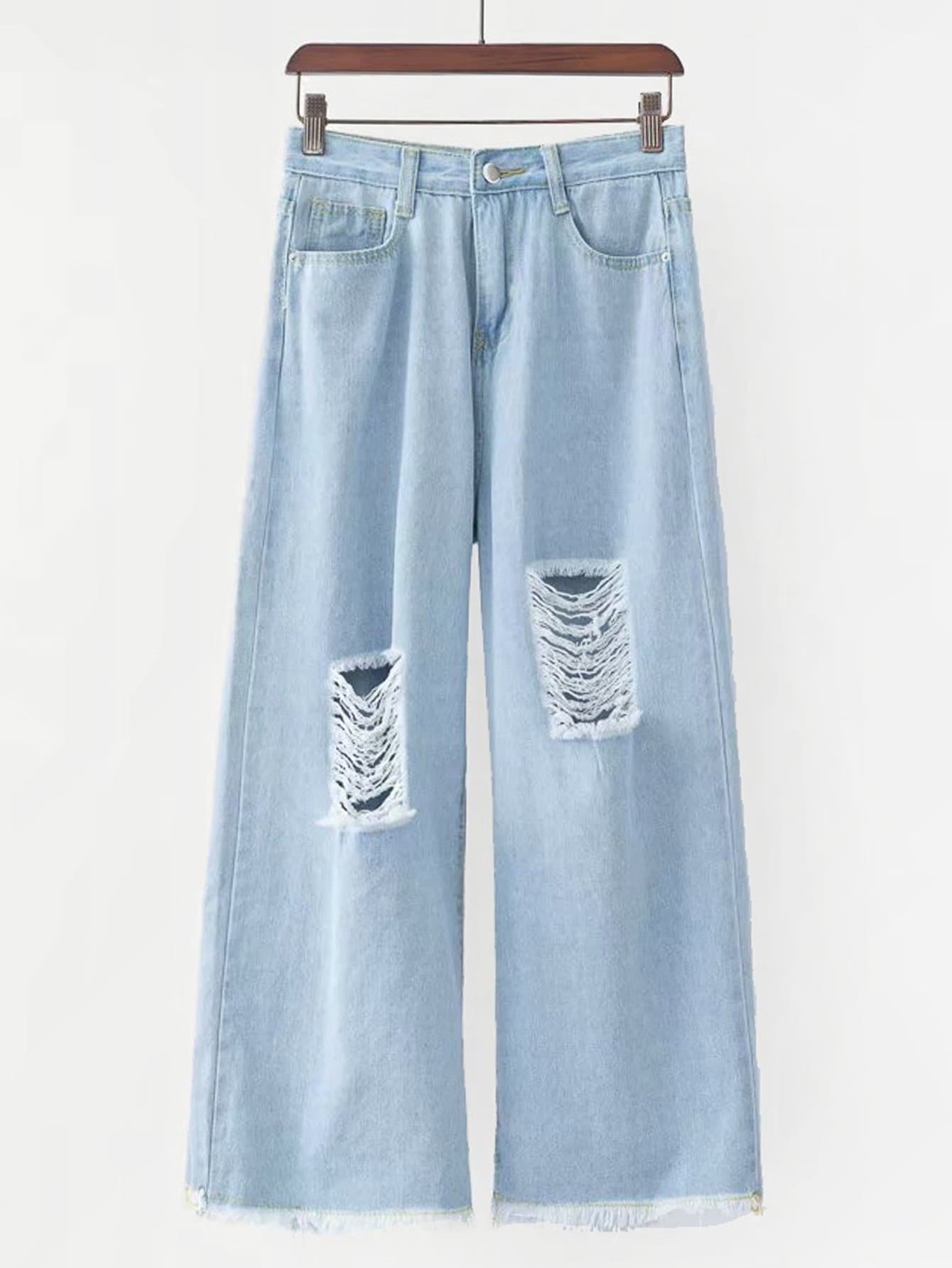 Ripped Raw Hem Wide Leg Jeans wide striped ripped dress