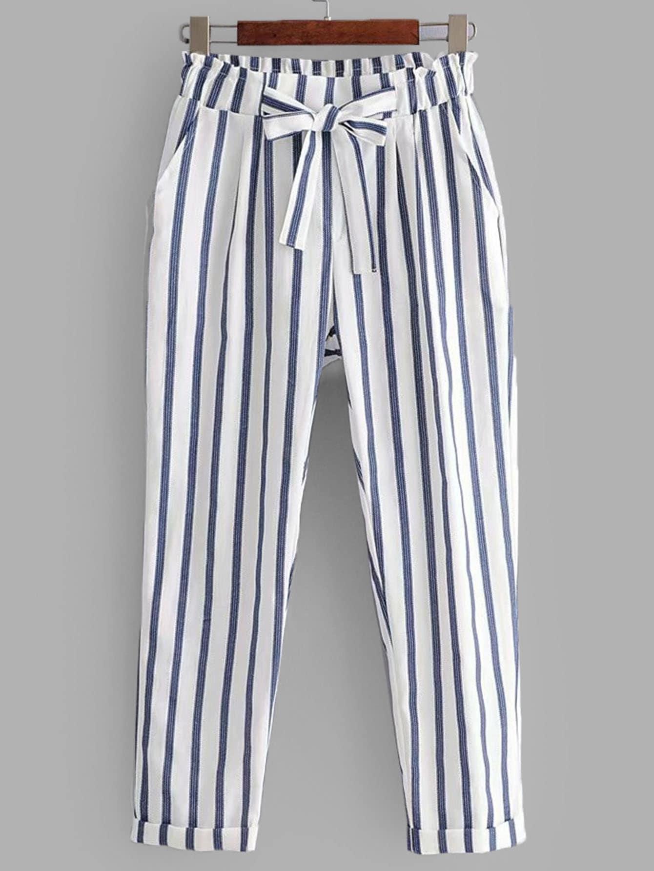 Купить Вертиккальные полосатые брюки и рольный подол, null, SheIn