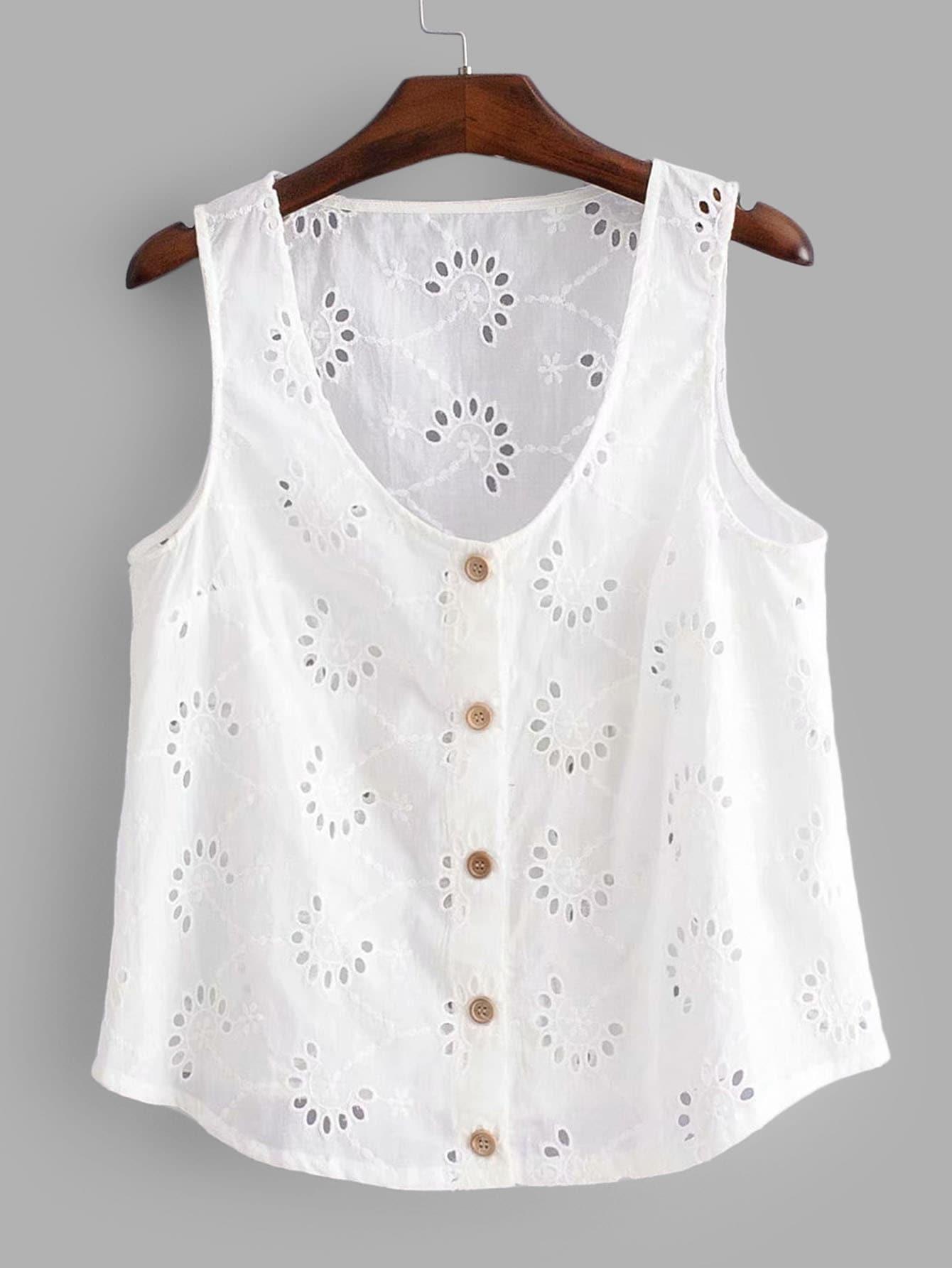 Купить Блузка с украшением вышивки и пуговиц, null, SheIn