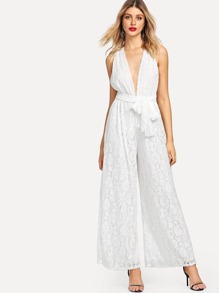 Lace Backless Solid Wide Leg Jumpsuit
