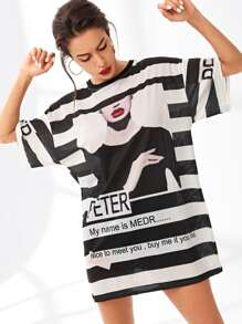 Figure And Letter Print Striped Tee