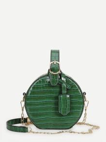 Croc Pattern Round Chain Bag