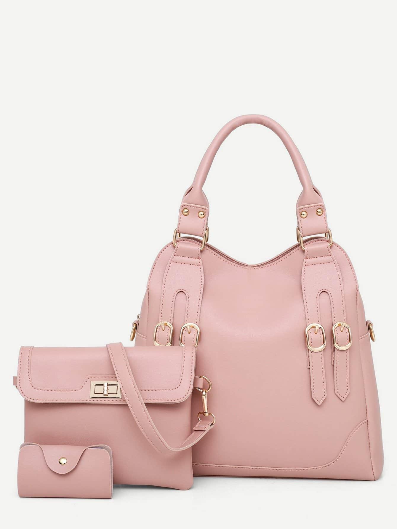 Купить Секцонная сумка с украшением пряжки 3 шт, null, SheIn
