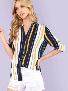 Stripe Button Up Roll Up Blouse