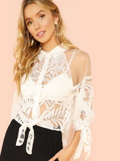 Embroidered Lace Tie Front Blouse