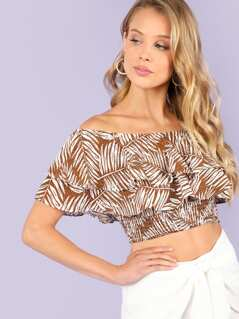 Tropical Print Off Shoulder Ruffle Top