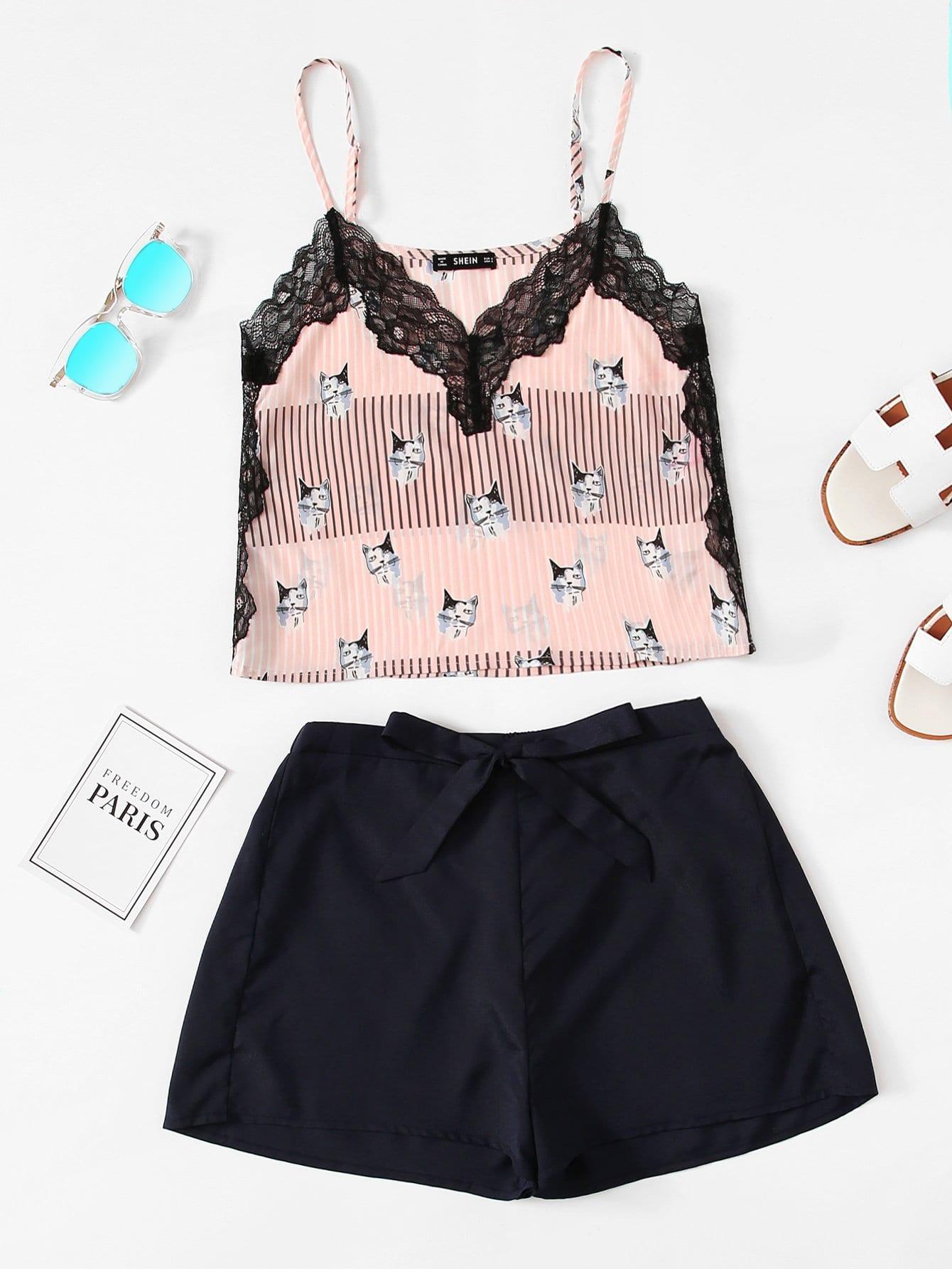Купить Контрастная кружевная кошка Печать Cami Top & Shorts PJ Set, null, SheIn