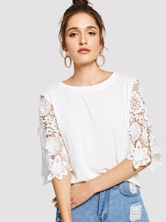 Guipure Lace Sleeve T-shirt