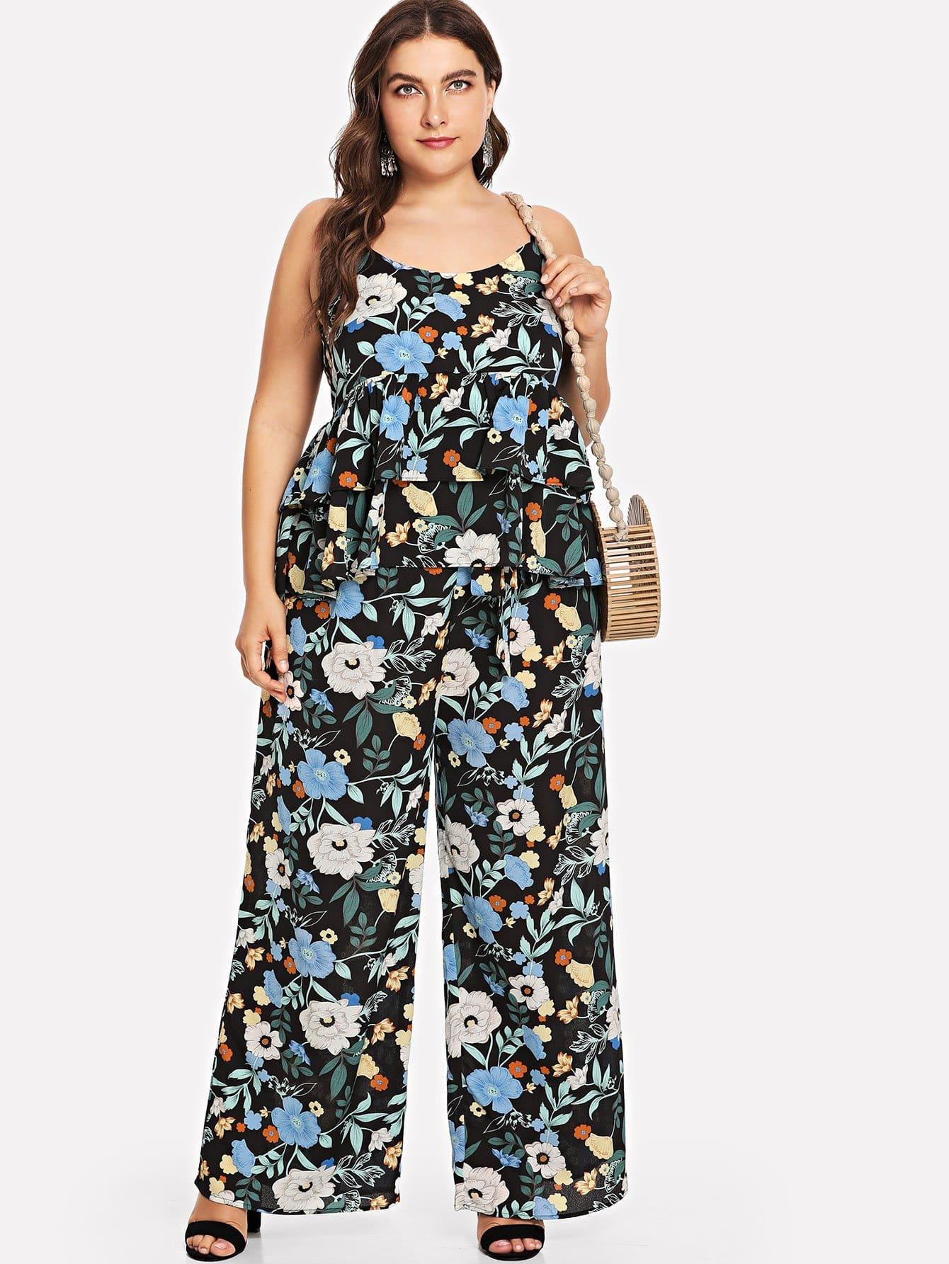 Купить Цветочная печать Cami Top & Wide Leg Pants Set, Franziska, SheIn