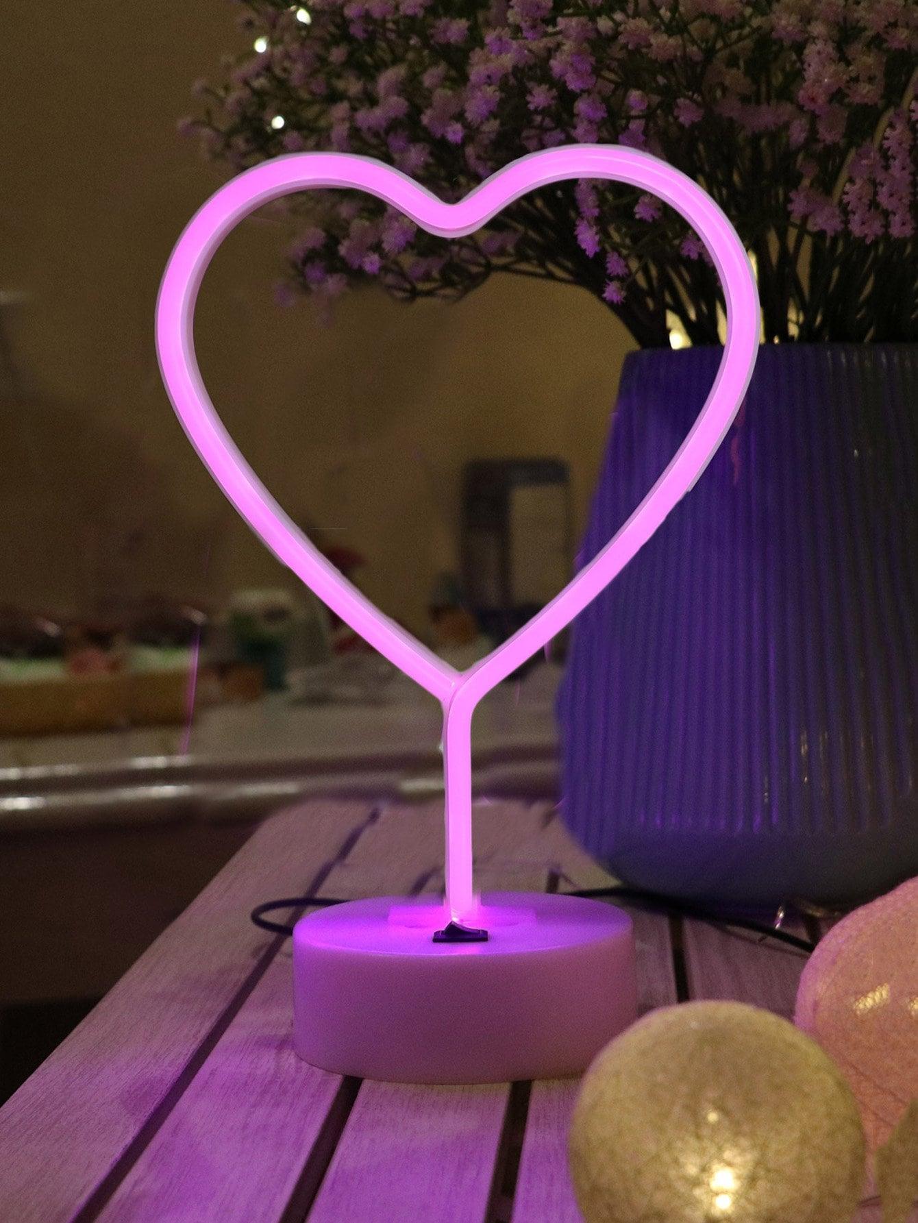 Купить Настольная неоновая лампа в форме сердца, null, SheIn
