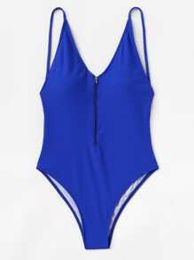 Zipper Front Plain Swimsuit