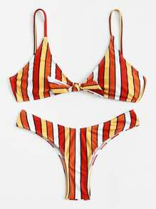 Knot Front Striped Bikini Set