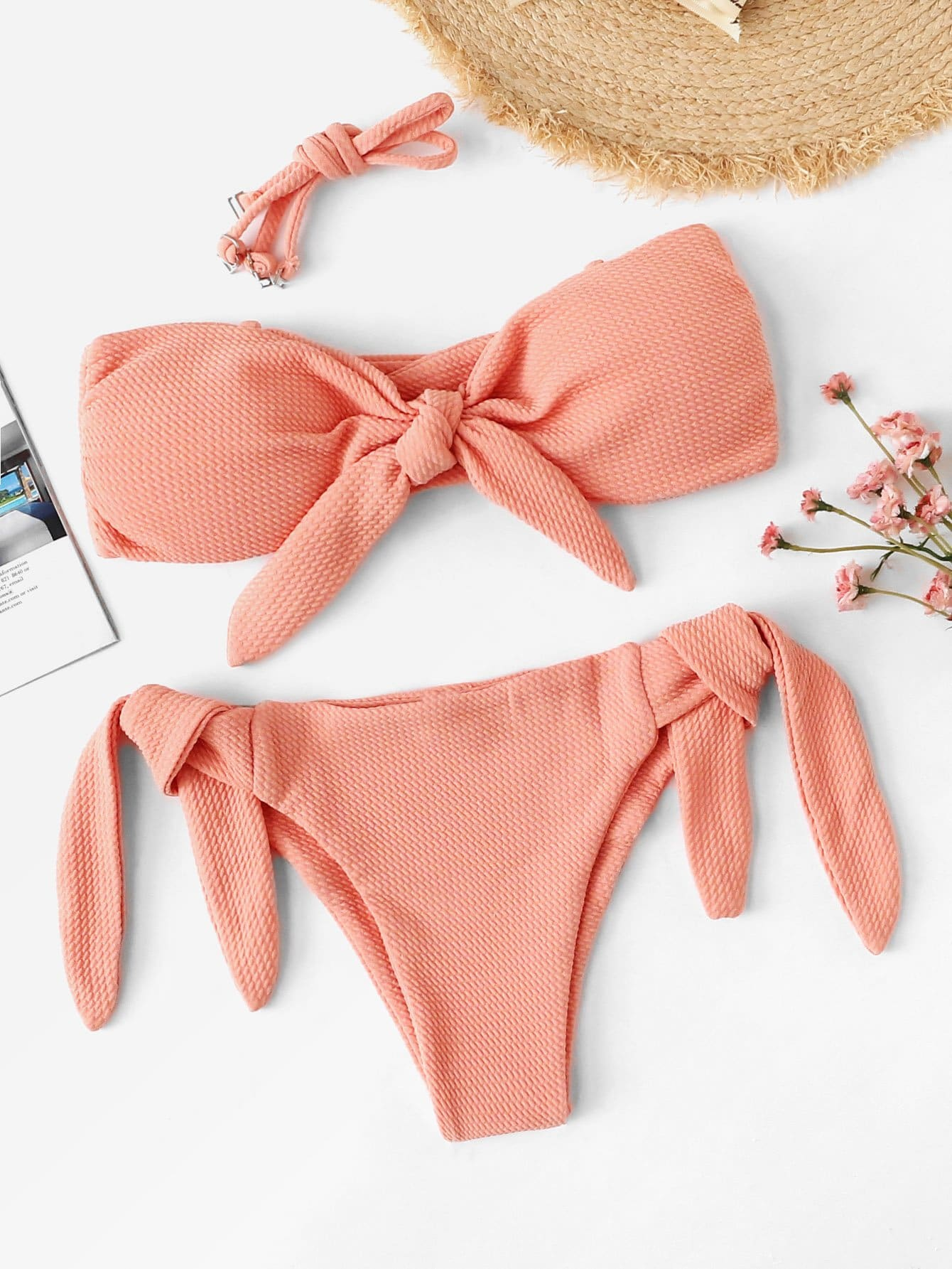 Knot Front Bandeau Top With Tie Side Bikini Set null