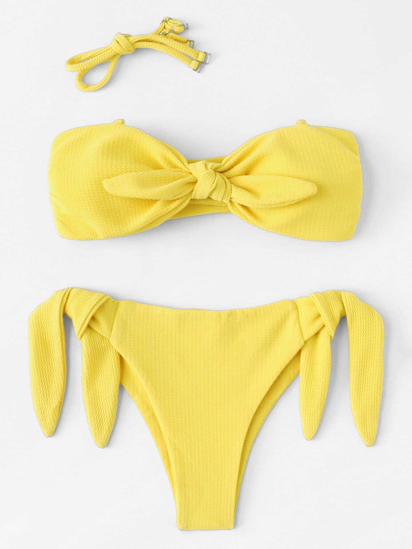 Tie Side Knot Front Bikini Set