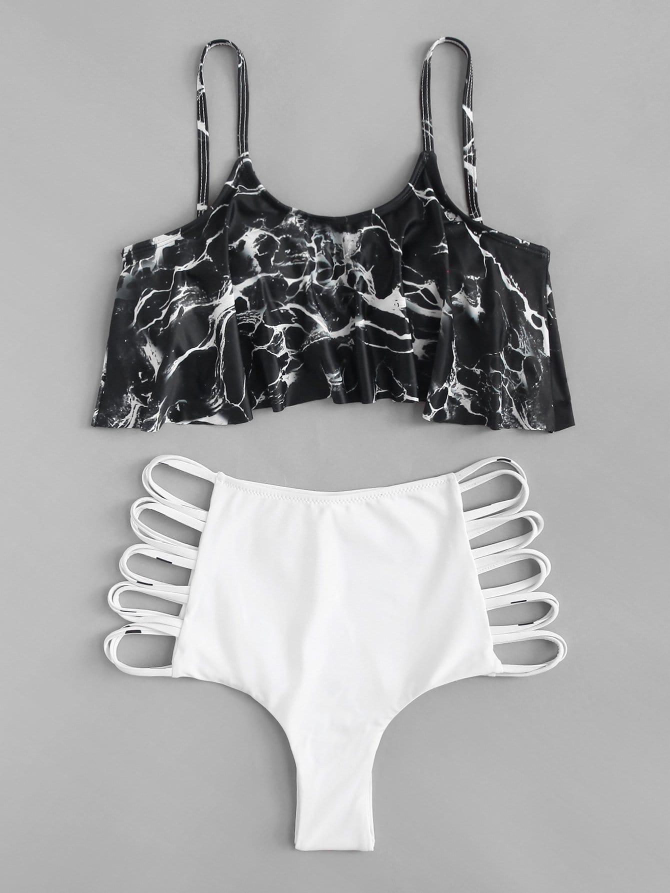 Ladder Cut-Out Marble Print Flounce Bikini Set