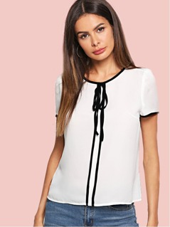 Knot Front Contrast Binding Top