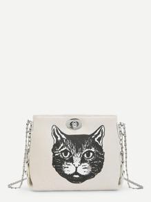 Cat Pattern Chain Crossbody Bag